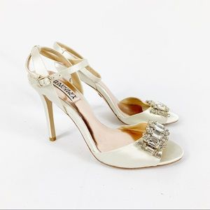 Badgley Mischka Satin Crystal Embellished Heels